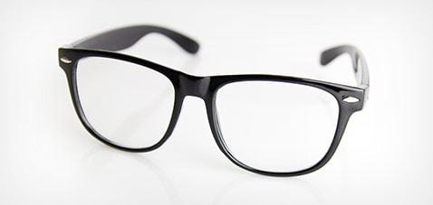 Glasses on a white desk